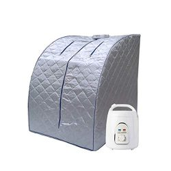 Pettyios Home Portable Personal Folding Sauna Steam Box Weight Loss Health Care (Blue Outline)