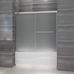 ELEGANT Walk-in Bath Tub Door 60″W x 57 3/8″H Double Sliding Shower Glass Door Scree ...