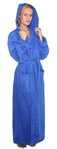 Arus Women's Pacific Style Full Length Hooded Turkish Cotton Bathrobe P/S Royal Blue