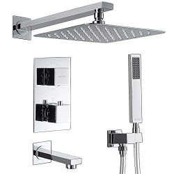 Esnbia Thermostatic Shower System Wall Mounted Shower Faucet Set With Tub Spout and 10″ Ra ...