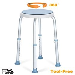 OasisSpace 360 Degree Rotating Shower Chair, Tool Free Adjustable Shower Stool Tub Chair and Bat ...