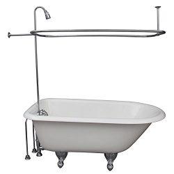 R2200BR Clawfoot Tub Shower Faucet & Rectangular Combo Set (Chromed Brass)