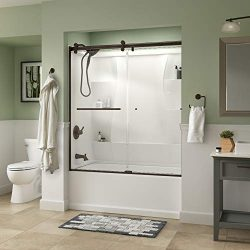 Delta ClassIc SD3927442 Semi-Frameless Contemporary Sliding Bathtub 60″ x 58-3/4″ Br ...