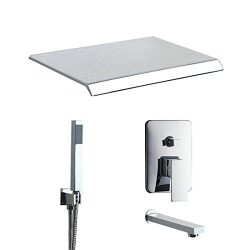 Chrome Bathtub Shower Faucet Set Wall Mounted Wide Spout Waterfall Hand Shower Mixer Tap