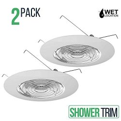 6″ Inch Fresnel Glass Shower Lens with White Plastic Trim, 60 Watt Max. for Bathrooms, Pat ...