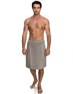TowelSelections Men's Wrap, Shower & Bath Terry Towel with Snaps Large/XX-Large Drizzl ...