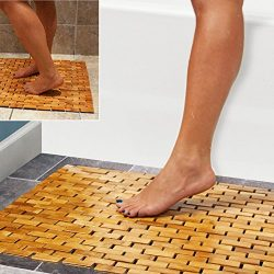 Luxury Multipurpose Bamboo Bath Mat For Shower Spa Sauna with Non Slip Feet | Indoor Outdoor Use ...