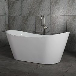 WOODBRIDGE 59″ Acrylic Freestanding Bathtub Contemporary Soaking Tub with Brushed Nickel O ...