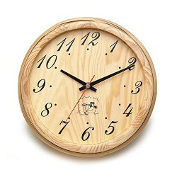 ALEKO WJ11 Analog Clock for Sauna Handcrafted from Finnish Pine