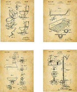 Bathroom Patent Wall Art Prints – set of Four (8×10) Unframed – wall art decor  ...