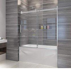 Elegant Semi-Frameless Sliding Bath Tub Door 60″ W x 62″ H Shower Enclosure 5/16&#82 ...