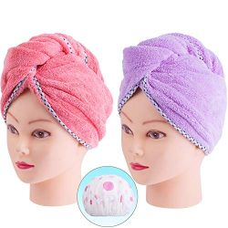 Hair Towel Wrap, Quick Dryer by Monarca, Pack of 2 Plush Soft Fleece Magic Hair Turban Wrap for  ...
