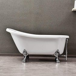 WOODBRIDGE Slipper Clawfoot Bathtub with Solid Brass Polished Chrome Finish Drain and Overflow,  ...