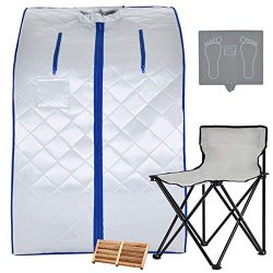 KUPPET Portable Infrared Home Spa, Infrared Negative Ion Portable Sauna, with Heating Foot Pad a ...