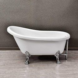 WOODBRIDGE 54″ Slipper Clawfoot Bathtub with Solid Brass Polished Chrome Finish Drain and  ...