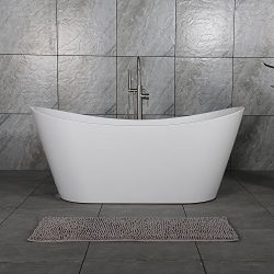 WOODBRIDGE B-0010 67″ Acrylic Freestanding Bathtub Contemporary Soaking Tub with Brushed N ...