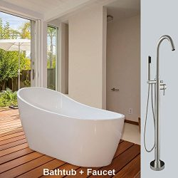 WOODBRIDGE 54″ Acrylic Freestanding Bathtub Contemporary Soaking Tub B-0006 with Brushed N ...