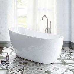 WOODBRIDGE B-0006 54″ Modern Acrylic Freestanding Bathtub, with Brushed Nickel Drain & ...