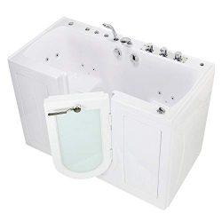 Ella OA3252H-L Monaco Acrylic Hydro Massage Walk-in Bathtub with Left Outward Swing Door, Thermo ...