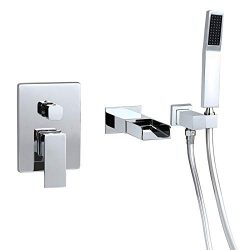 Homary Modern Wall Mounted Bathtub Faucet Waterfall Tub Spout Single Handle Solid Brass Tub Fill ...