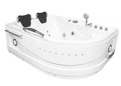 Whirlpool massage hydrotherapy corner bathtub hot tub 2 two person CAYMAN white