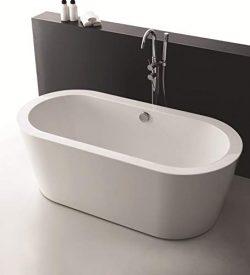 Bathtub King 59″ Stand Alone Acrylic Soaking SPA Hot Tub Modern Freestanding Bathtubs with ...