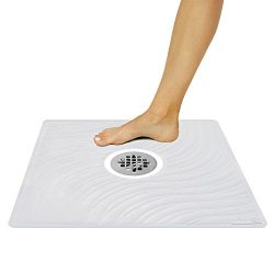 Vive Shower Mat – Non Slip Large Square Bath Mat for Bathtub – Suction Cup Skid Pad  ...