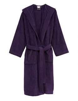 TowelSelections Women's Robe Turkish Cotton Hooded Terry Bathrobe Small/Medium Wineberry