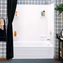 Durawall Thermoplastic Bathtub Wall Kit, 5 Pieces, 4 Shelves, White, 30 X 60 in.