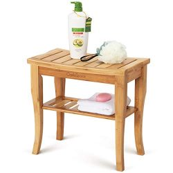 OasisSpace Bamboo Shower Bench, 19″ Waterproof Shower Chair with Storage Shelf, Wood Spa B ...