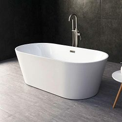 WOODBRIDGE BTA-1514 59″ Acrylic Freestanding Bathtub Contemporary Soaking Tub with Brushed ...