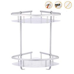 FOSEN Bathroom Shower Shelf (No Drilling) – Durable Aluminum 2 Tiers Shower Shelf Kitchen  ...