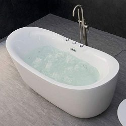 WOODBRIDGE B-0034/BTS1611 71″ x 31.5″ Water Jetted Bubble Freestanding Bathtub, B-00 ...
