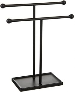 AmazonBasics Double-T Hand Towel and Accessories Stand – Black