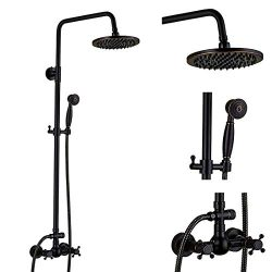 Oil Rubbed Bronze Rain Shower System Matte Black Shower Set With Cross Shower Handles Single Han ...