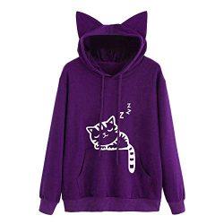 Wobuoke Womens Cute Cat Long Sleeve Cat Ear Hoodie Sweatshirt Hooded Pullover Tops Blouse