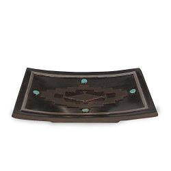 Veratex Pueblo Collection Modern Contemporary Style Patterned Resin Bathroom Soap Dish, Rust
