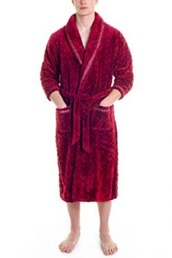 Mens Fleece Robe Long Plush Super Soft and Warm Bathrobe Cozy Fluffy Shower Robe
