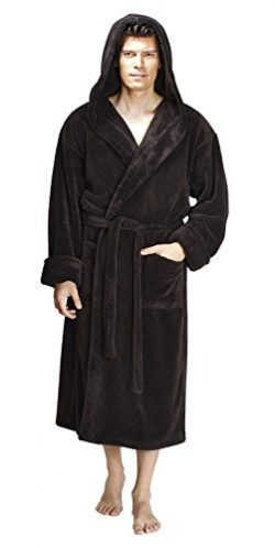 Arus Men's Hooded Fleece Bathrobe Turkish Soft Plush Robe, Charcoal, LXL