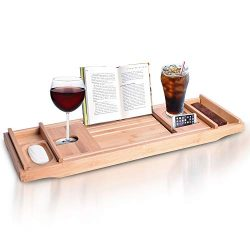 Bathtub Tray Caddy Shelf – Organic Bamboo Clawfoot Bath Tub Tray Caddy for Tub with Wine G ...