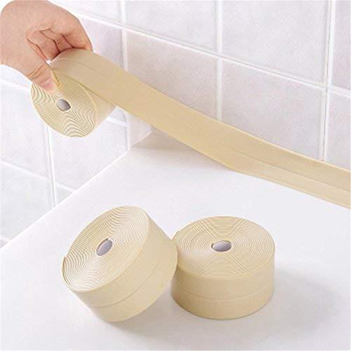thu 3.8cmX3.2m PVC Bathtub Caulk Strip Self Adhesive Waterproof Anti-Moisture Bathroom Mosaic Ki ...