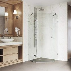 "VIGO VG6061CHCL42 Verona 42"" x 42"" inch Clear Glass Corner Frameless Neo-Angle Shower Enclosure, ..."