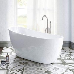 WOODBRIDGE 54″ Acrylic Freestanding Bathtub Contemporary Soaking Tub with Brushed Nickel O ...