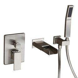 Homary Waterfall Spout Wall Mounted Tub Faucet Brushed Nickel for Bathroom Modern Single Handle  ...