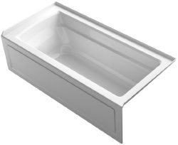 KOHLER K-1948-RA-0 Archer ExoCrylic 66-Inch x 32-Inch Three-Side Integral Flange Bath with Apron ...