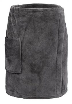 Leisureland Men's Plush Fleece Wrap, Spa Gym Bath Wrap Grey