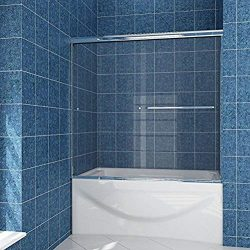 SUNNY SHOWER Model# B020. Frameless Bypass 2 Sliding Bathtub Shower Doors. 56″ – 60& ...