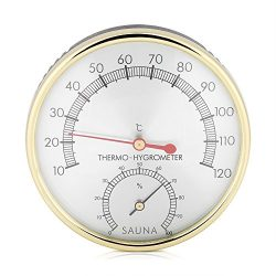 FTVOGUE Sauna Thermometer Metal Dial Hygrometer Hygro-Thermometer Indoor Room Accessory