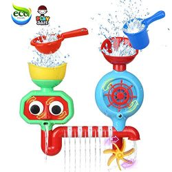 Bath Toys for Toddlers 1 2 3 Year Old Boys Girls Bath Wall Toy Fill Flow and Spin Waterfall Stat ...