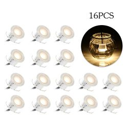 Tomshine 16 Pack Recessed LED Deck Light Kit, High Bright in Ground Outdoor Landscape LED Lighti ...